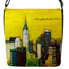 New York City with yellow Flap Messenger Bag (S)