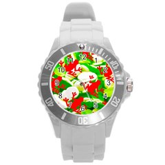 Box Of Frogs  Round Plastic Sport Watch (l)