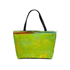 Abstract Landscape In Green  Shoulder Handbags