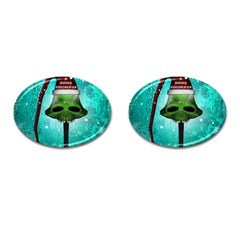 I Wish You A Merry Christmas, Funny Skull Mushrooms Cufflinks (Oval)
