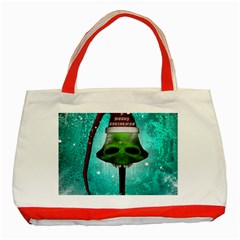 I Wish You A Merry Christmas, Funny Skull Mushrooms Classic Tote Bag (Red)