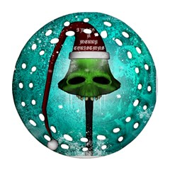I Wish You A Merry Christmas, Funny Skull Mushrooms Ornament (Round Filigree)