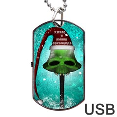 I Wish You A Merry Christmas, Funny Skull Mushrooms Dog Tag USB Flash (One Side)