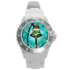 I Wish You A Merry Christmas, Funny Skull Mushrooms Round Plastic Sport Watch (L)