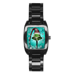 I Wish You A Merry Christmas, Funny Skull Mushrooms Stainless Steel Barrel Watch