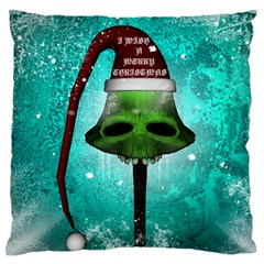 I Wish You A Merry Christmas, Funny Skull Mushrooms Large Flano Cushion Cases (one Side)