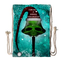 I Wish You A Merry Christmas, Funny Skull Mushrooms Drawstring Bag (Large)