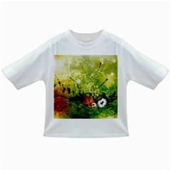 Awesome Flowers And Lleaves With Dragonflies On Red Green Background With Grunge Infant/Toddler T-Shirts