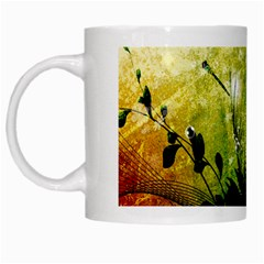 Awesome Flowers And Lleaves With Dragonflies On Red Green Background With Grunge White Mugs