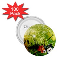 Awesome Flowers And Lleaves With Dragonflies On Red Green Background With Grunge 1.75  Buttons (100 pack)