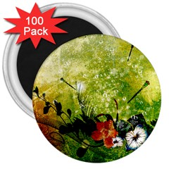 Awesome Flowers And Lleaves With Dragonflies On Red Green Background With Grunge 3  Magnets (100 pack)