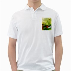 Awesome Flowers And Lleaves With Dragonflies On Red Green Background With Grunge Golf Shirts