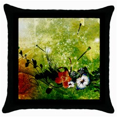 Awesome Flowers And Lleaves With Dragonflies On Red Green Background With Grunge Throw Pillow Cases (Black)