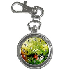Awesome Flowers And Lleaves With Dragonflies On Red Green Background With Grunge Key Chain Watches