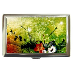 Awesome Flowers And Lleaves With Dragonflies On Red Green Background With Grunge Cigarette Money Cases