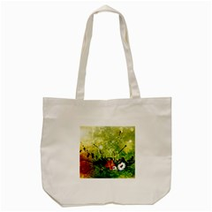 Awesome Flowers And Lleaves With Dragonflies On Red Green Background With Grunge Tote Bag (cream)