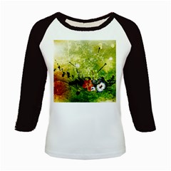 Awesome Flowers And Lleaves With Dragonflies On Red Green Background With Grunge Kids Baseball Jerseys