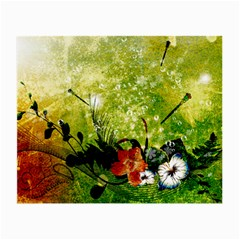 Awesome Flowers And Lleaves With Dragonflies On Red Green Background With Grunge Small Glasses Cloth