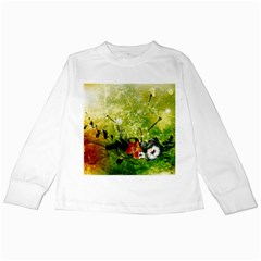 Awesome Flowers And Lleaves With Dragonflies On Red Green Background With Grunge Kids Long Sleeve T-Shirts