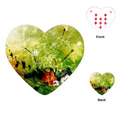 Awesome Flowers And Lleaves With Dragonflies On Red Green Background With Grunge Playing Cards (heart)