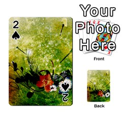 Awesome Flowers And Lleaves With Dragonflies On Red Green Background With Grunge Playing Cards 54 Designs