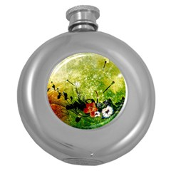 Awesome Flowers And Lleaves With Dragonflies On Red Green Background With Grunge Round Hip Flask (5 oz)