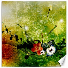 Awesome Flowers And Lleaves With Dragonflies On Red Green Background With Grunge Canvas 12  x 12