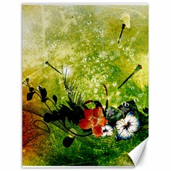 Awesome Flowers And Lleaves With Dragonflies On Red Green Background With Grunge Canvas 18  X 24
