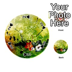 Awesome Flowers And Lleaves With Dragonflies On Red Green Background With Grunge Playing Cards 54 (Round)