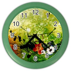 Awesome Flowers And Lleaves With Dragonflies On Red Green Background With Grunge Color Wall Clocks