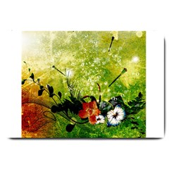 Awesome Flowers And Lleaves With Dragonflies On Red Green Background With Grunge Large Doormat