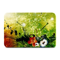 Awesome Flowers And Lleaves With Dragonflies On Red Green Background With Grunge Plate Mats