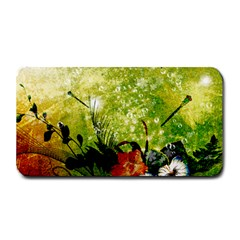 Awesome Flowers And Lleaves With Dragonflies On Red Green Background With Grunge Medium Bar Mats