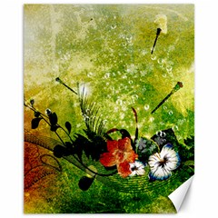 Awesome Flowers And Lleaves With Dragonflies On Red Green Background With Grunge Canvas 11  X 14