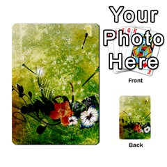 Awesome Flowers And Lleaves With Dragonflies On Red Green Background With Grunge Multi-purpose Cards (Rectangle)
