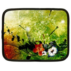 Awesome Flowers And Lleaves With Dragonflies On Red Green Background With Grunge Netbook Case (Large)
