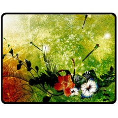 Awesome Flowers And Lleaves With Dragonflies On Red Green Background With Grunge Fleece Blanket (medium)