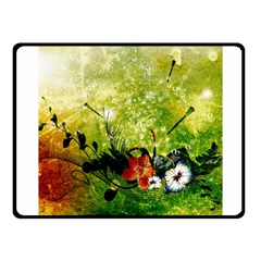 Awesome Flowers And Lleaves With Dragonflies On Red Green Background With Grunge Fleece Blanket (small)