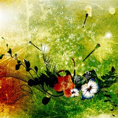 Awesome Flowers And Lleaves With Dragonflies On Red Green Background With Grunge Magic Photo Cubes