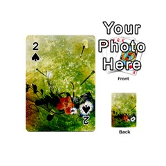 Awesome Flowers And Lleaves With Dragonflies On Red Green Background With Grunge Playing Cards 54 (mini)