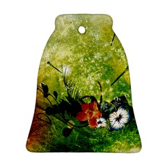 Awesome Flowers And Lleaves With Dragonflies On Red Green Background With Grunge Bell Ornament (2 Sides)