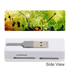 Awesome Flowers And Lleaves With Dragonflies On Red Green Background With Grunge Memory Card Reader (Stick)