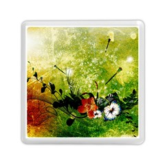 Awesome Flowers And Lleaves With Dragonflies On Red Green Background With Grunge Memory Card Reader (square)