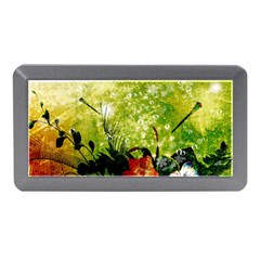 Awesome Flowers And Lleaves With Dragonflies On Red Green Background With Grunge Memory Card Reader (mini)