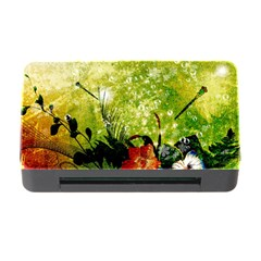 Awesome Flowers And Lleaves With Dragonflies On Red Green Background With Grunge Memory Card Reader with CF