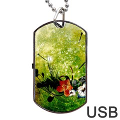 Awesome Flowers And Lleaves With Dragonflies On Red Green Background With Grunge Dog Tag Usb Flash (two Sides)