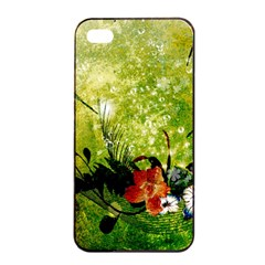 Awesome Flowers And Lleaves With Dragonflies On Red Green Background With Grunge Apple Iphone 4/4s Seamless Case (black)
