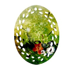 Awesome Flowers And Lleaves With Dragonflies On Red Green Background With Grunge Oval Filigree Ornament (2-Side)