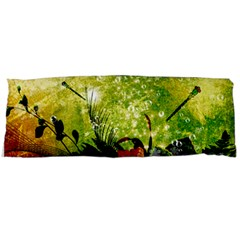 Awesome Flowers And Lleaves With Dragonflies On Red Green Background With Grunge Body Pillow Cases (dakimakura)