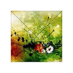 Awesome Flowers And Lleaves With Dragonflies On Red Green Background With Grunge Acrylic Tangram Puzzle (4  X 4 )